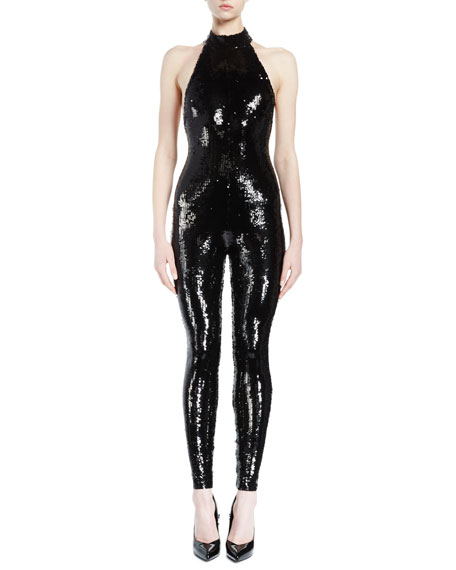 Halter-Neck Sequined Catsuit, Black