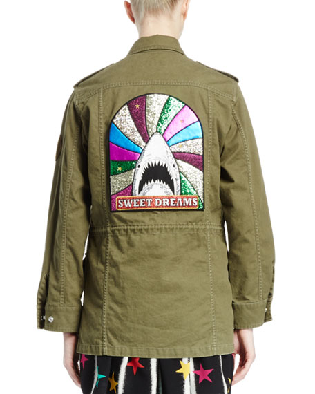 Military Jacket W/Back Shark Patch, Olive