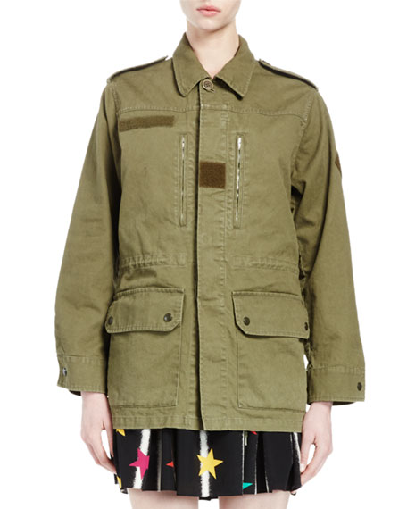 Military Jacket W/Back Shark Patch, Olive