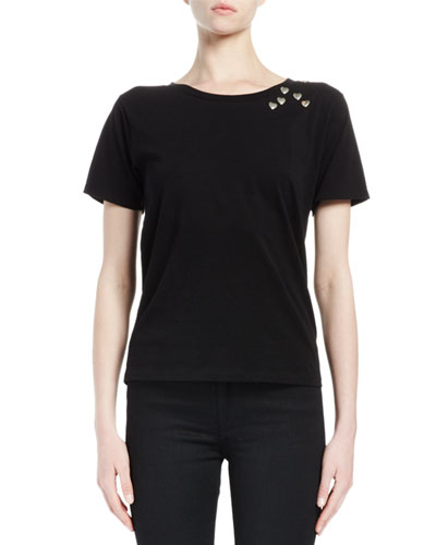Sweetheart Stud-Embellished Short-Sleeve Tee, Black