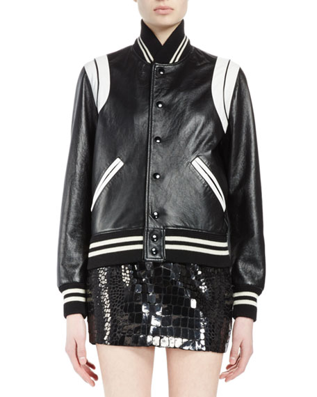 Snap-Front Leather Bomber Jacket, Black/White