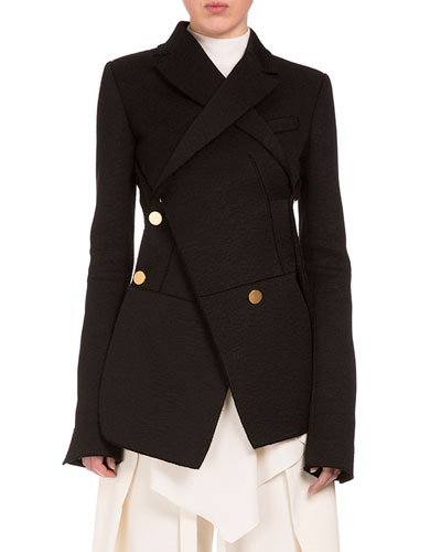 Asymmetric Button-Front 2-In-1 Blazer, Black