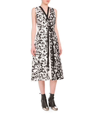 Sleeveless Vine-Print Strappy Dress, Black/White/Yellow