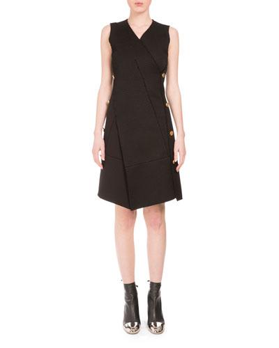 Sleeveless V-Neck Side-Button Dress, Black