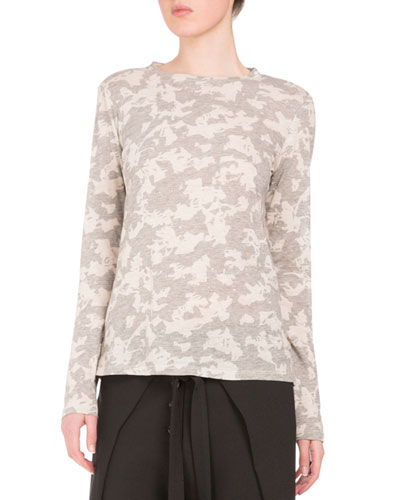 Floral Long-Sleeve Crewneck Tee, Gray/White