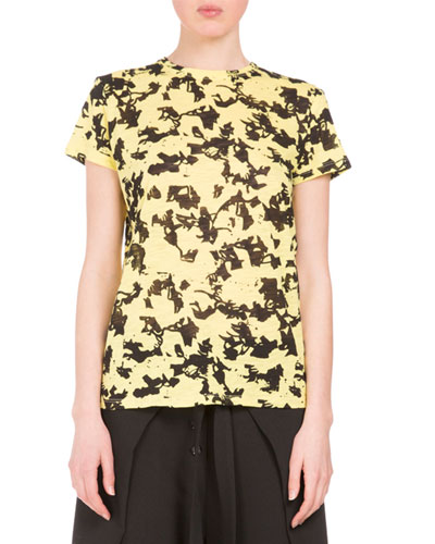 Floral Short-Sleeve Crewneck Tee, Yellow/Black Floral