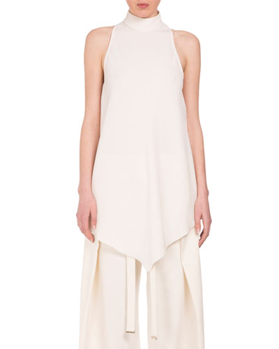 Turtleneck High-Low Swing Blouse, Off White