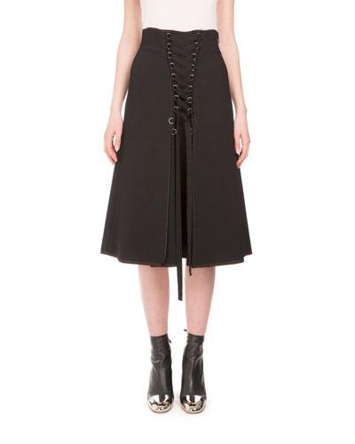 High-Waist Lace-Up A-Line Skirt, Black