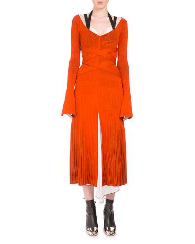 Long-Sleeve Crisscross-Waist Midi Dress, Orange/Black