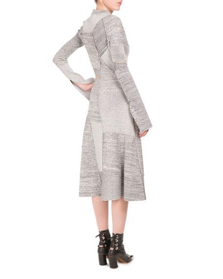 Mock-Neck Patch-Collage Dress W/Cutouts, White/Black