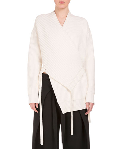 Surplice-Neck Wrap Cardigan, Off White
