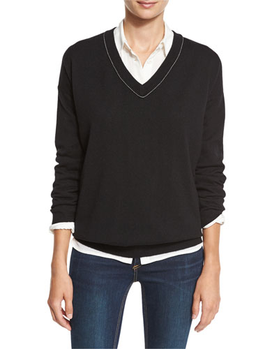 Monili-Trim Cashmere V-Neck Sweater, Black