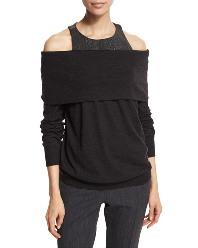 Monili-Tank Off-the-Shoulder Sweater, Anthracite