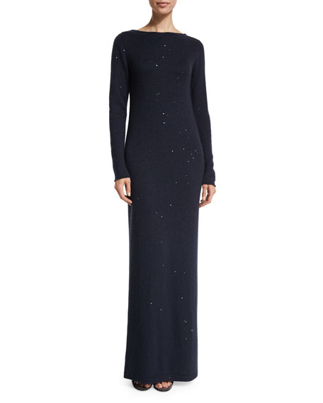 Brunello Cucinelli Long-Sleeve Paillette V-Back Dress, Navy