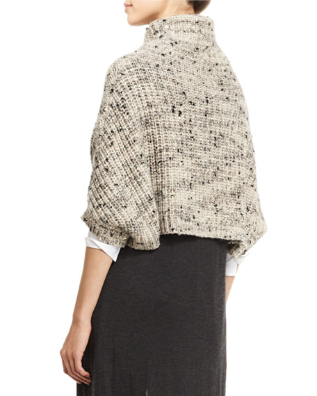 Turtleneck Cropped Sweater, Sea Salt