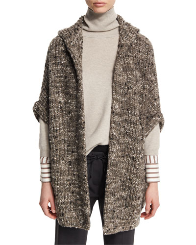 Paillette Ribbed Hooded Poncho, Moss