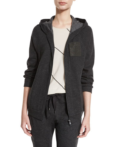 Monili-Pocket Hooded Jacket, Anthracite