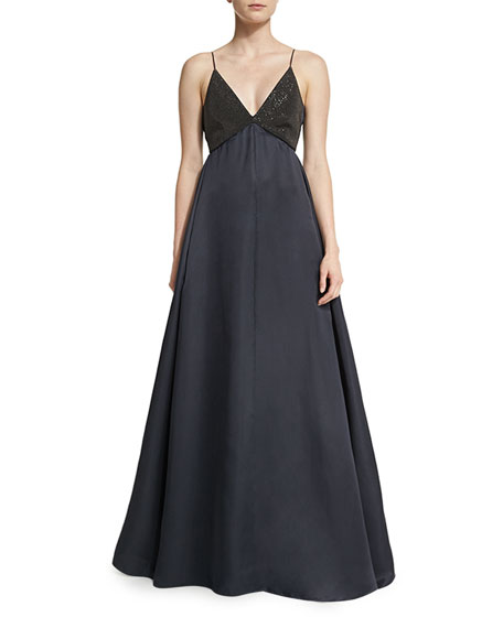 Brunello Cucinelli Sequined Camisole Ball Gown, Volcano