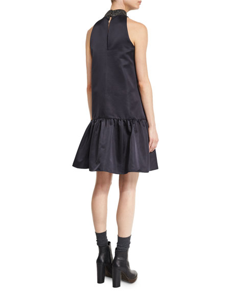 Sleeveless Drop-Waist Monili-Collar Dress, Black