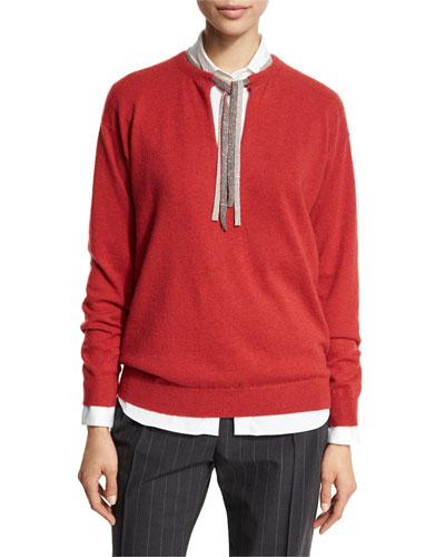 Monili-Tie Long-Sleeve Sweater, Poppy