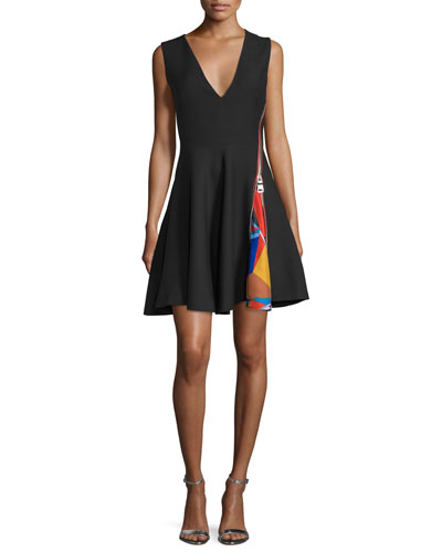Zipper-Detail Sleeveless V-Neck Dress, Nero