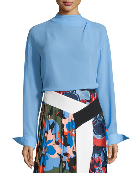Long-Sleeve Silk Blouse, Cornflower Blue