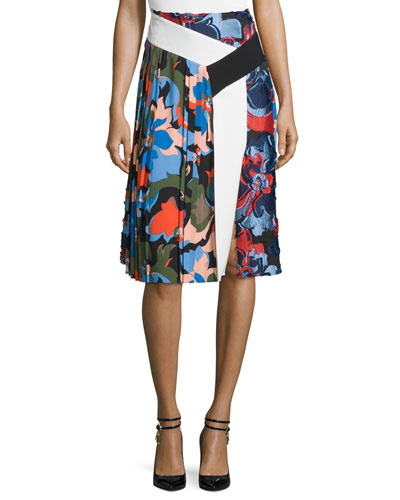 Pleated Printed A-Line Skirt, Cornflower Blue