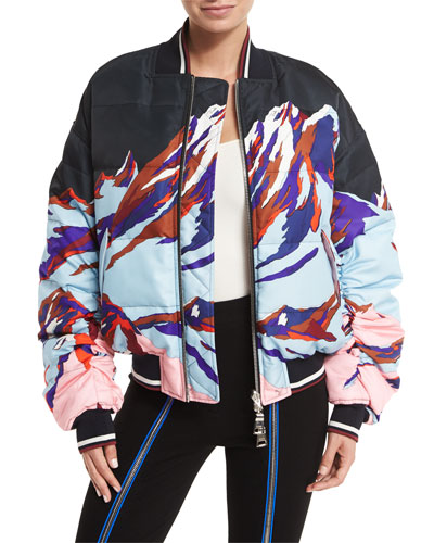 Montagne-Print Down Bomber Jacket, Cornflower Blue
