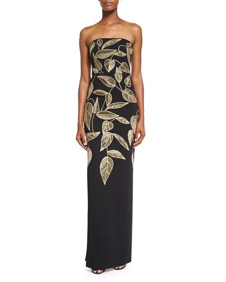 Lela Rose Strapless Sequined Leaf Column Gown, Black/Gold