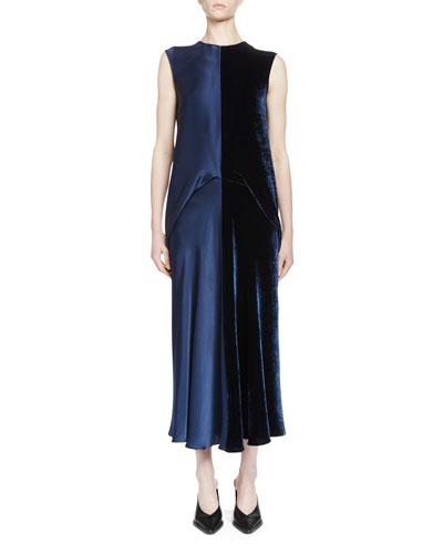 Sleeveless Satin & Velvet Combo Midi Dress, Blue Ink