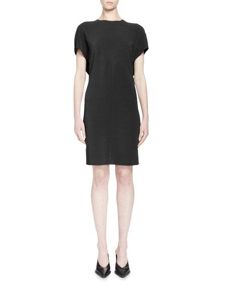 Stella McCartney Short-Sleeve Draped-Back Dress, Black