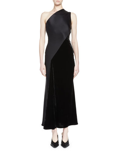 One-Shoulder Satin & Velvet Gown, Black