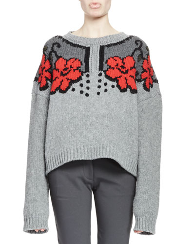Cropped Lace Intarsia Sweater, Gray/Granite/Scarlet