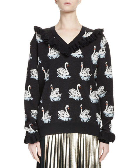 Ruffled Swan Intarsia Sweater, Black