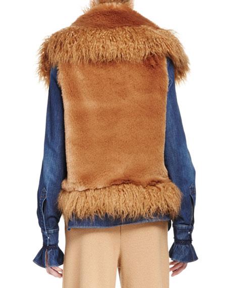 Mixed Faux-Fur Vest, Camel