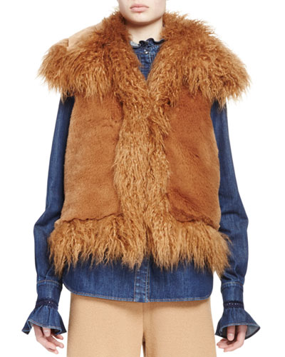 Mixed Faux-Fur Vest, Camel