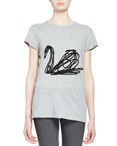Scribbled Swan T-Shirt, Gray Melange