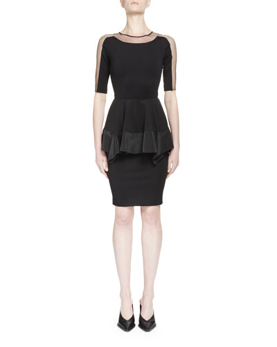 Illusion Half-Sleeve Peplum Dress, Black