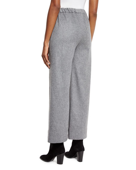 Wide-Leg Wool Pants, Gray