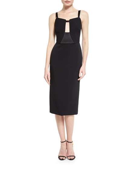 TOM FORD Sleeveless Keyhole Midi Dress, Black
