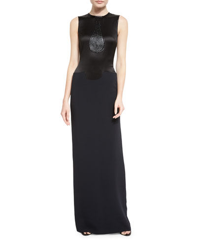 Sleeveless Metallic-Inset Gown, Black