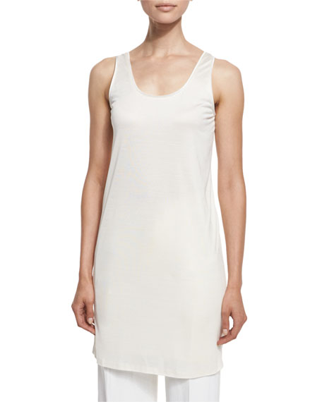 TOM FORD Oversized Scoop-Neck Tank/Tunic/Dress, Chalk