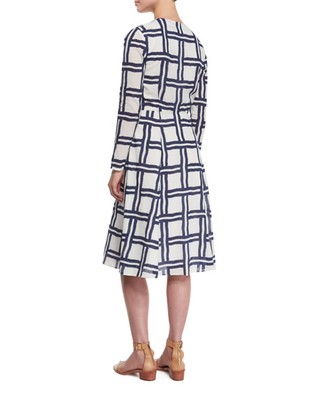 Windowpane Long-Sleeve V-Neck Dress, White/Navy