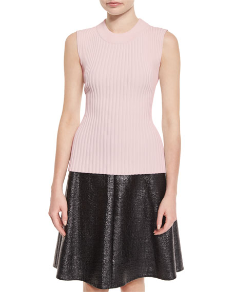 Ribbed Sleeveless Sweater, Pink