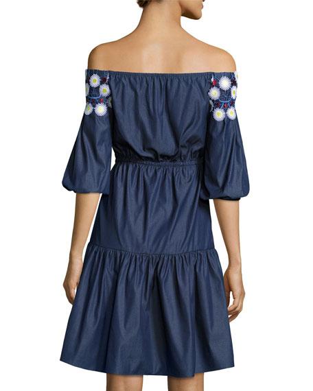 Crochet-Trim Off-the-Shoulder Peasant Dress, Indigo