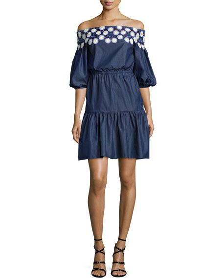 Peter Pilotto Crochet-Trim Off-the-Shoulder Peasant Dress, Indigo