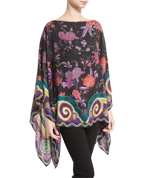 Etro Floral Cashmere-Blend Poncho, Black/Violet/Multi