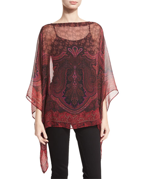 Etro Paisley-Print Silk Poncho, Red/Multi