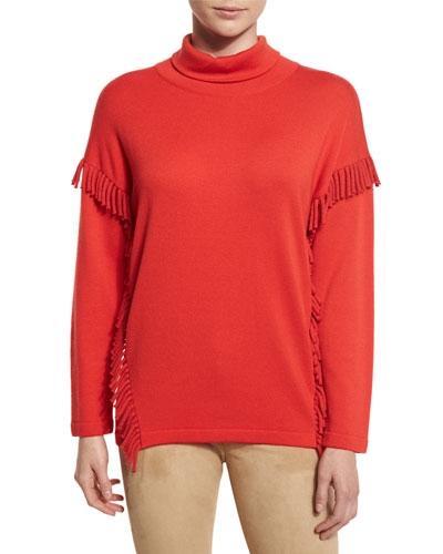 Heritage Fringe-Trim Turtleneck Sweater, Red