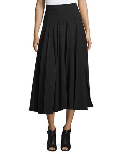 Pleated A-Line Midi Skirt, Black